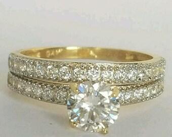 14K Solid Gold 1.5 ct Diamond Ring