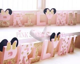 Pink and Gold Minnie Mouse Birthday Decorations - Glitter Letters - Self Standing - Stand Alone - Minnie Mouse Letters - Cake Table Letters