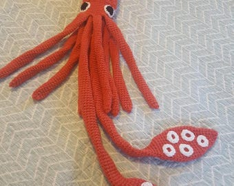 Giant squid crochet toy ~ sea creature stuffed animal ~ unique giant plush gift