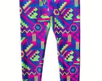 Girl's Yoga Pant / Legging - Neon Aztec Print