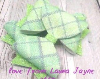Mint tartan bow