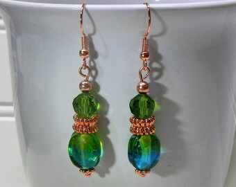 Solid Copper With Green Fade To Blue Ombre Glass Bead Earrings Handcrafted
