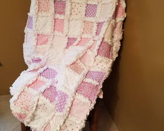 Baby girl rag quilt so soft and cuddly