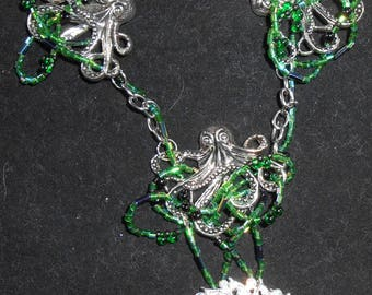 Necklace - Octopus with Treasure in green