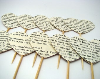 10 Heart cake toppers - book pages - Party picks - Birthday - Wedding favors - Text topper - Dessert toppers - Cupcake decor