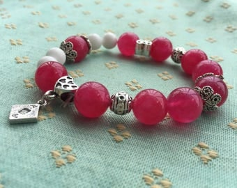 Romantic Rose Pure handmade precious stone bracelet, Classy, Gift for her, One&Only.