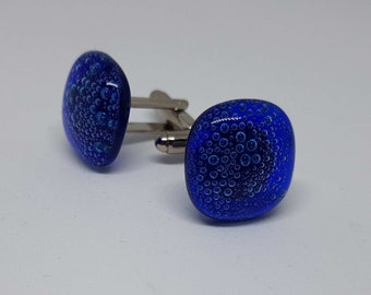 Blue cufflinks - bubbles - fused glass - unique jewellery - unusual jewellery - jewellery for men - cuff links - handmade - cobalt