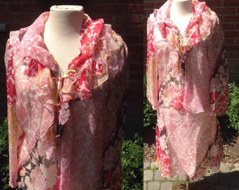 1990s Christian Lacroix floral silk chiffon blouse skirt ensemble