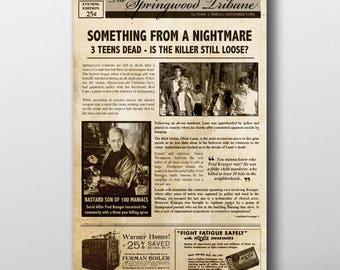 Nightmare on Elm Street Inspired Mock Newspaper Art Print