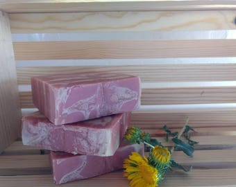 Goat's Milk Soap, made with Shea butter, 4 ounces, cherry blossom, pink