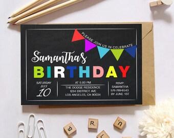 Chalkboard birthday invitation/Chalkboard birthday invites/Chalkboard birthday card/Chalkboard birthday sign/Chalkboard birthday sign boy