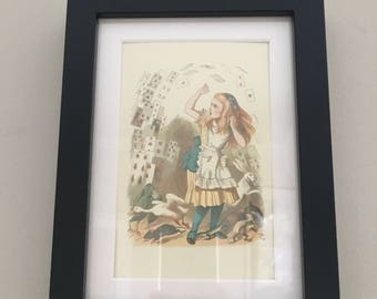 Classic Alice in Wonderland Illustration - framed Postcard - Alice with Cards