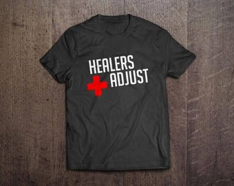 Healers Adjust - Final Fantasy XIV (FFXIV) MMORPG Unisex Adult T-Shirt Charcoal/Black TShirt