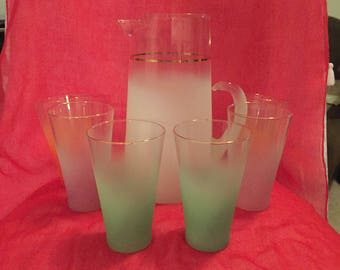 Vintage set of Blendo tumblers with pitcher