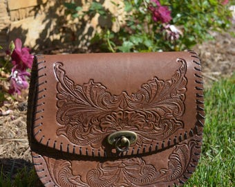 Hand Tooled Leather Crossbody
