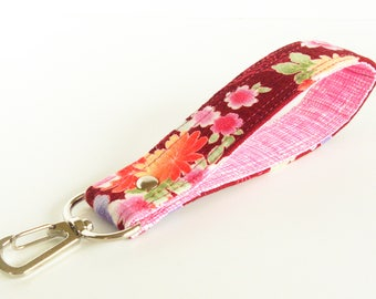 Japanese Floral Key Chain, Flowers Key Holder, Red Pink Key Chain, Floral Wrist Strap, Wrist Lanyard, Short Lanyard Strap, Bridesmaid Gift