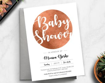Baby Shower Invitation for a Girl, Baby Shower Rose Gold Printable Invite, Baby shower invitation Rose gold, Baby shower invite