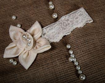 girl headband, elegant girl headband,beige flower headband,beige elastic lace 20cm,chic gift for her