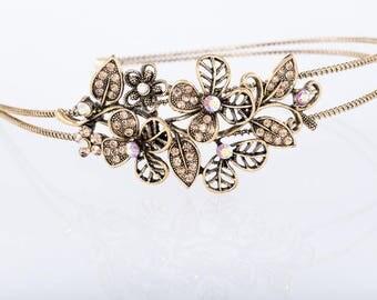 Stunning Antique look Headband/Bridal headpiece/Gatsby style/prom accessory/Hollywood glamour/1920's style headpiece/prom/rustic headpiece
