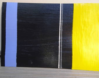 Yellow, White, Grey, & Blue on Black — Abstract Art