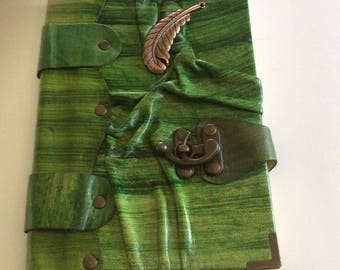 Hand Made Leather Green Feather Pendant Large Sketchbook Diary Journal Notebook