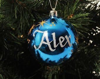 Blue Shatterproof Personalised Christmas Decoration