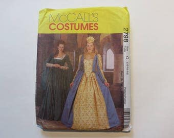 McCall's Costumes Pattern #2798: Women's Renaissance/Queen Size C (10-12-14) PARTIALLY CUT