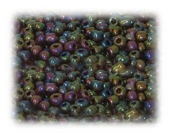 6/0 Black Rainbow Luster Glass Seed Beads, 1 oz. bag