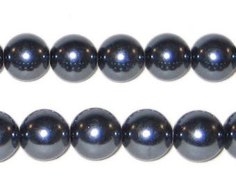 10mm Charcoal Glass Pearl Bead approx. 22 beads