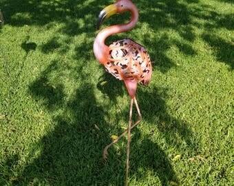 """Solar Metal Flamingo Bird Garden Stake 39"""""""
