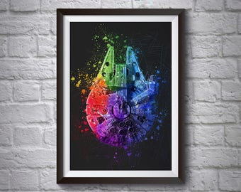 Millennium Falcon Abstract Poster - Wall Art Poster - Greeting Card - Star Wars Poster - Printed Movie Poster - Room Decor - Star Wars Print