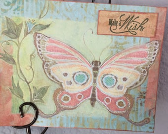 Beautiful Butterfly note card, Happy Birthday Card, Make a Wish Card, Inspired by nature card, inspirational card.