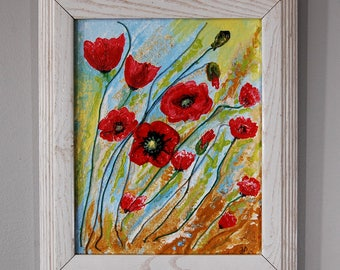 Red poppies, , 8 x 10, acrylic painting on canvas