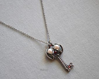Pearl  Garnet Key Pendant Necklace Oxidized Sterling Silver Chain Birthday Anniversary Unique