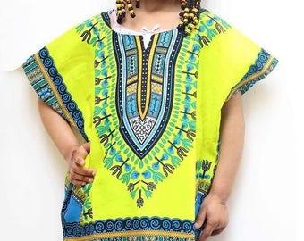 Kids African Dashiki Shirt - yellow