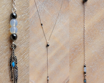 Long chain feather and beads of natural gemstones