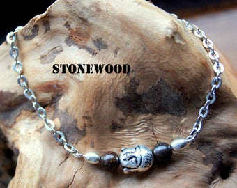 Bronzite beads and Buddha head bracelet