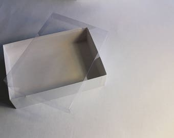 Gift Box with Lid  - White Cardboard Box with Clear Plastic Lid - 2x5 3/4x8 1/4