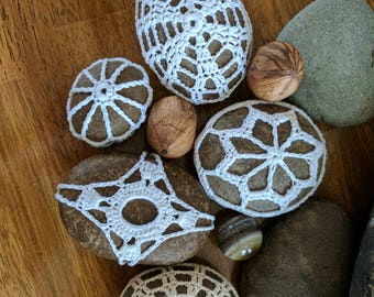 Crocheted Wish Stone, doily covered stone, crochet rock, bohemian, paper Weight, earthy natural decor
