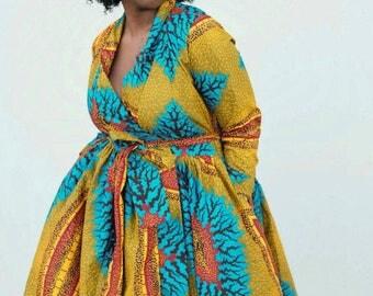 women African ankara wrapping dress ankara print long sleeve african dress knee length African fashion, Afrcan clothing African Ankara