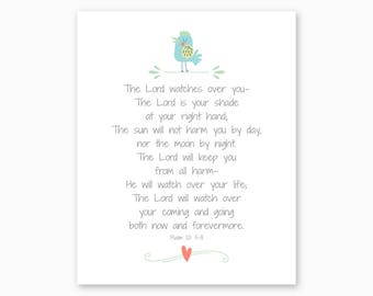 BOY NURSERY PRINTABLE, The Lord Watches Over You, Psalm 121, Bible Verse Printable, Baby Shower Gift for Boys, Scripture, Instant Download
