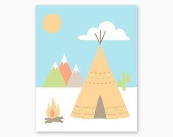 NATIVE NURSERY ART, Teepee, Mountains, Cactus, Tribal Nursery, Nursery Printable, Instant Download, Diy Nursery Art, Boho Nursery
