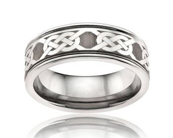 EAMON Celtic Knot Laser Engraved Tungsten Band | 6mm & 8mm