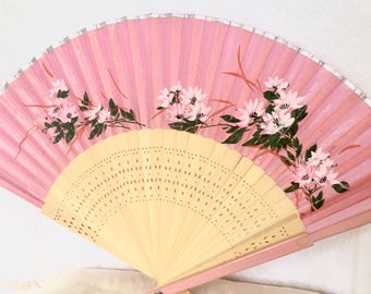 Pink Asian Silk and Wood Fan