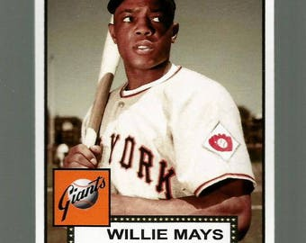 Willie Mays New York Giants New, Custom Made 1952 Style Baseball Card. Mint Condition. Career Statistics On The Back.