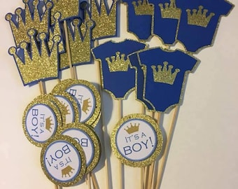 Little Prince Royal blue baby shower cupcake toppers...prince banner..royal prince birthday banner..royal birthday party..