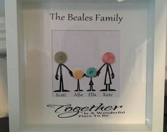 Personalised Button Family Frame