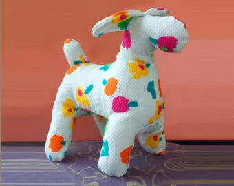 Art Toy Sculpture textile dog house flower