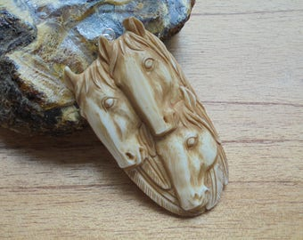 Horse Group Carving in Brown/Antique Color, Horse Bone Pendant, Horse Carving, Bali Bone Jewelry P320