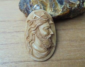 Jesus Christ Pendant, Jesus Carving in Brown Color, Bali Bone Carving JP01